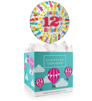 Happy 12th Birthday - Balloon in a Box Gifts - Birthday Balloons - Birthday Balloon Gifts - Balloon in a Box Gift Delivery